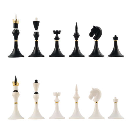 Full set of the classic chess figures isolated over white background photo