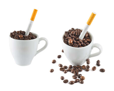 Cigarette in a cup full of coffee beans isolated over white background, set of two foreshortenings photo
