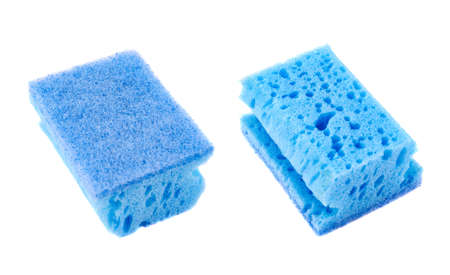 Kitchen blue sponge front and back side views isolated over white background photo