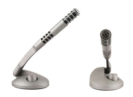 Wireless grey plastic microphone transmitter isolated over white background, set of two photo