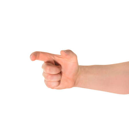 decreasing in size: This much sign caucasian hand gesture isolated over white background