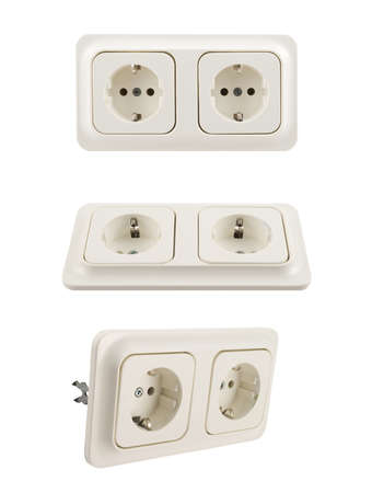 Electrical double jack white plastic socket isolated over white background, set of three foreshortenings photo