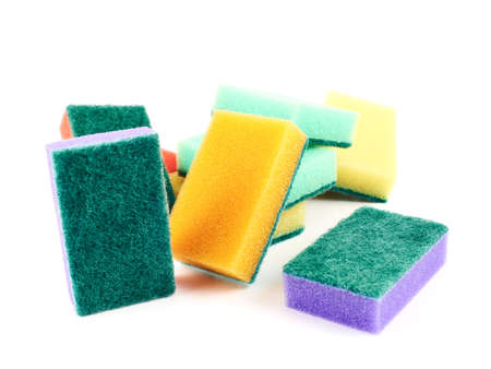 Colorful kitchen sponge composition isolated over white background photo