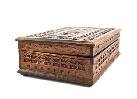 Wooden carved casket isolated over white background Stock Photo - 20557047
