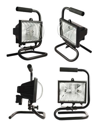 Portable halogen construction lamp with a handle isolated over white background, set of four foreshortenings photo