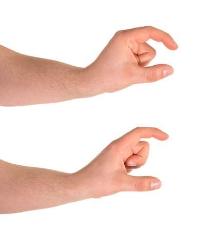 decreasing in size: Confrontando piccolo e pi� grande segno, caucasico mano gesto isolato su sfondo bianco, set di due scorci