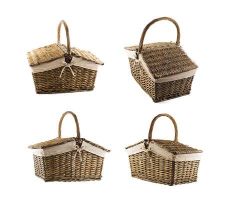 wickerwork: Picnic basket hamper isolated over white background, set of four foreshortenings