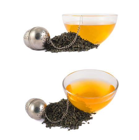 Glass piola bowl of tea next to metallic infuser and a pile of dried leaves isolated over white background, set of two foreshortenings photo
