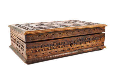 Wooden carved casket isolated over white background Stock Photo - 20645644