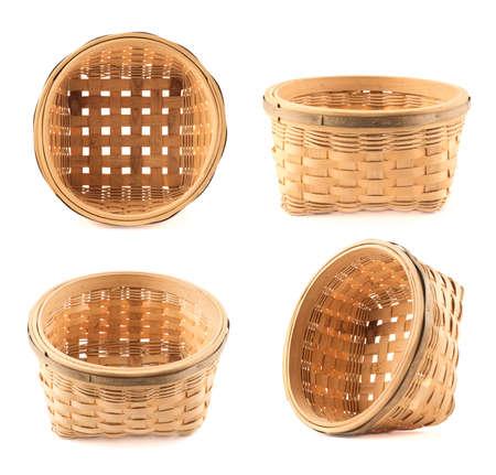 foreshortening: Wooden wicker basket isolated over white background, set of four foreshortening Stock Photo