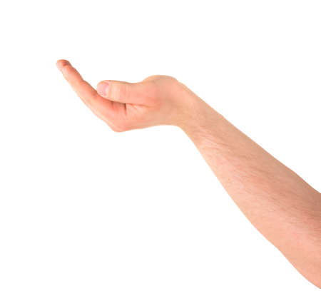 Asking for alms help caucasian hand gesture isolated over white background photo