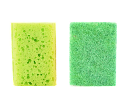Kitchen green sponge front and back side views isolated over white background photo