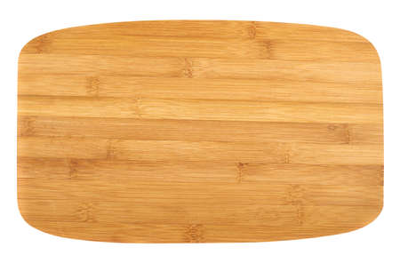 Cutting wooden board isolated over white background, top view Stock Photo