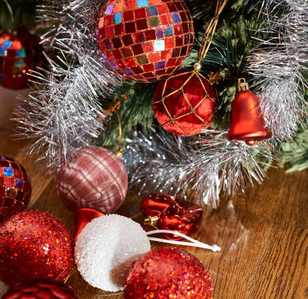 Festive Christmas background as a decorational xmas balls under the tree composition photo