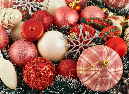 Festive Christmas background of xmas balls and decorations photo