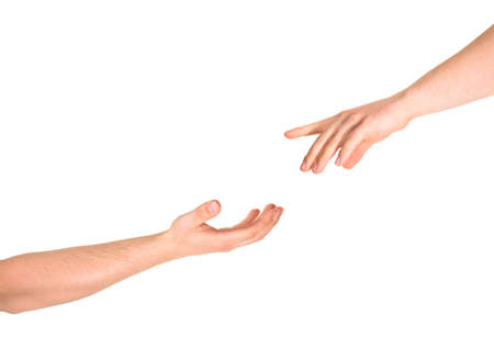 Helping hand caucasian hand gesture composition isolated over white background photo