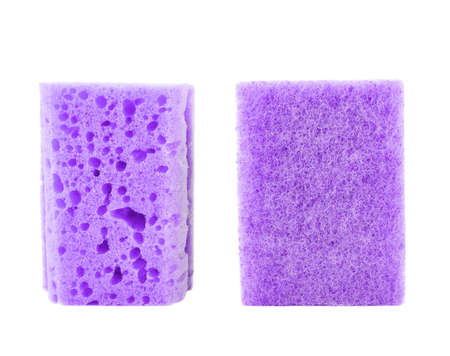 back kitchen: Kitchen violet sponge front and back side views isolated over white background Stock Photo
