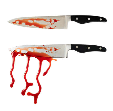Chefs steel knife with a blood stains isolated over white background, set of two foreshortenings photo