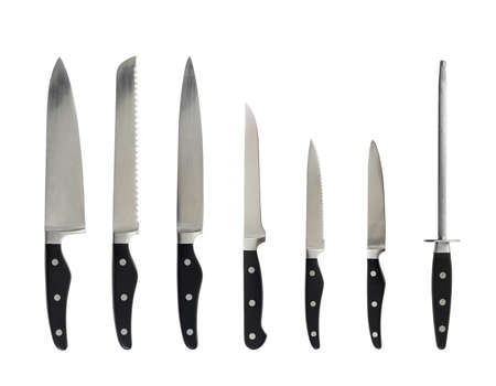 Steel kitchen knife with a black handle set isolated over the white background Stock Photo