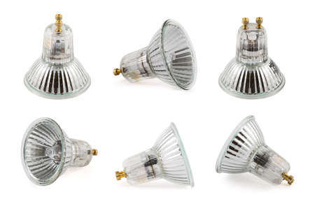 Halogen lamp isolated over white background, set of six foreshortenings Фото со стока