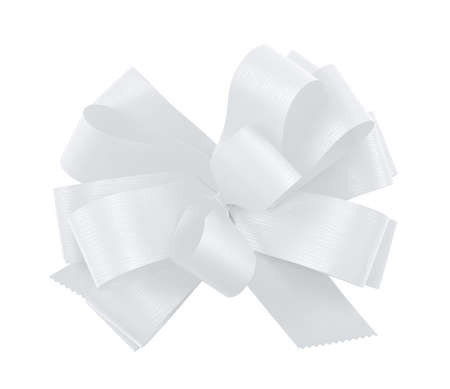 Gift ribbon glossy white bow isolated over white background photo