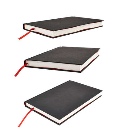 Black book with a red bookmark isolated over white background, set of three foreshortenings photo