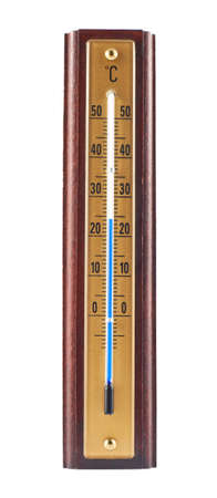 Wooden celsius thermometer isolated over white background photo