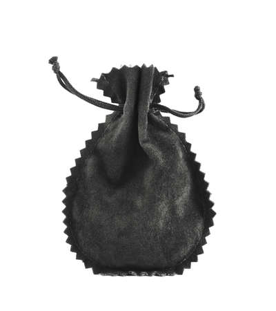 Black suede pouch isolated over white background photo