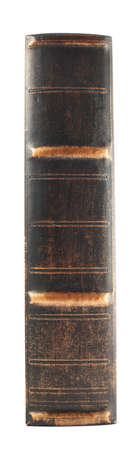 Old dark leather book spine isolated over white background photo