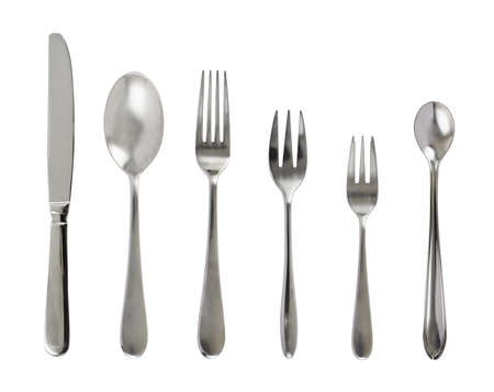 Set of steel metal table cutlery isolated over white background Stock Photo