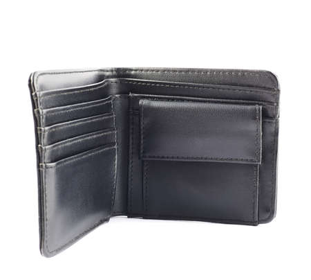 Black leather wallet, opened, isolated over white background photo