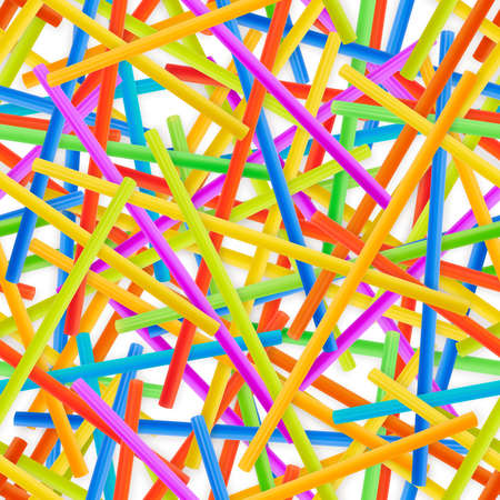 Seamless drinking straw background pattern of colorful plastic tubes over white photo