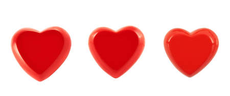 Glossy red heart isolated over white background photo