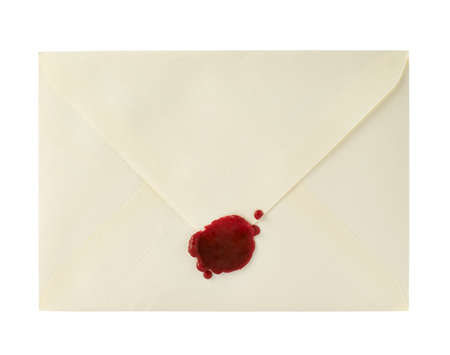 Envelope closed with a sealing wax isolated over white background photo