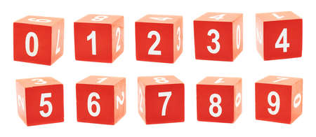 Playing red colored cubes with a numbers over, set of ten numbers, isolated over white background photo