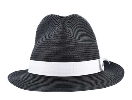 Fedora like black hat with a white tape isolated over white background, front view