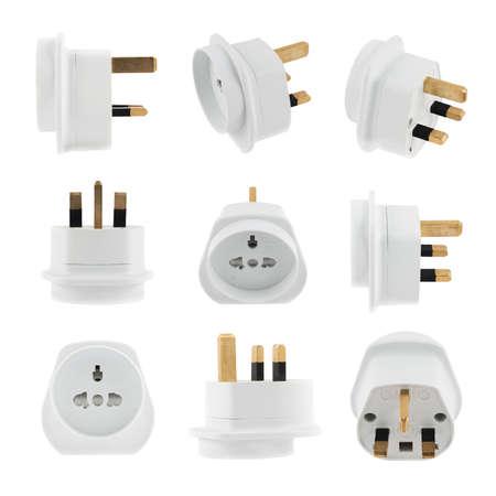 converter: European EU to UK converter plug travel adapter isolated over white background, set of nine foreshortenings