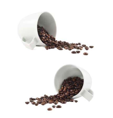 Spilled coffee beans from the white ceramic cup isolated over white background, set of two foreshortenings