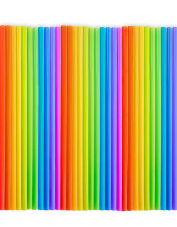 rainbow cocktail: Drinking straw colorful plastic tubes over white as abstract background