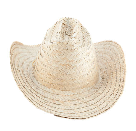 Straw hat isolated over white background Stock Photo