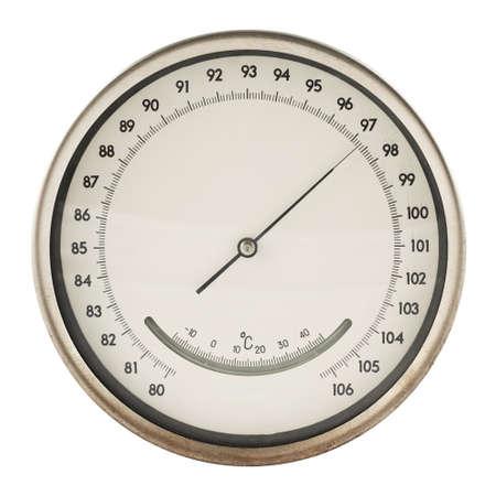 pluviometro: Old metros bar�metro ronda aislado sobre fondo blanco