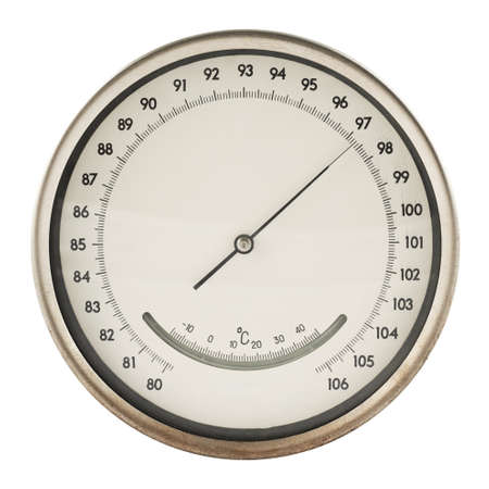 Old round barometer meter isolated over white background