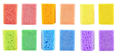 back kitchen: Colorful kitchen sponge, back and front view foreshortening, set of six colors isolated over white background Stock Photo