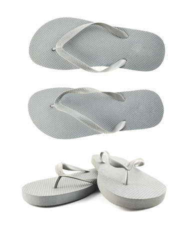 flip: Grey rubber flip-flops isolated over white background, set of two foreshortenings