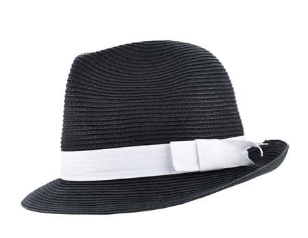 fedora: Fedora like black hat with a white tape isolated over white background