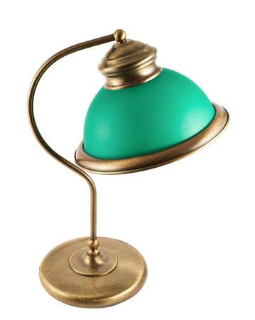 lampekap: Metalen tafel-lamp met een groene lampenkap die over witte achtergrond