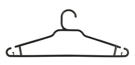 Clothes coat plastic black hanger isolated over white background photo