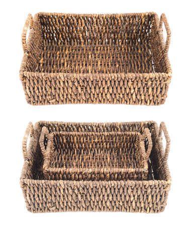 double reed: Brown wicker basket, box shaped, isolated over white background, set of two foreshortenings