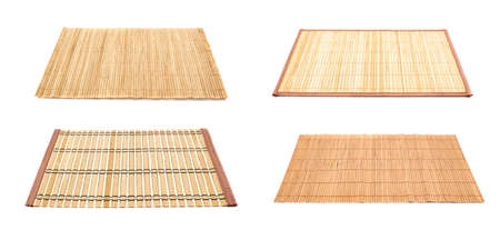 rug texture: Bamboo straw serving mat isolated over white background, set of four variations Stock Photo