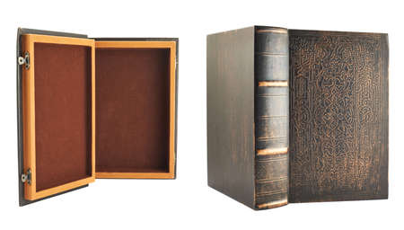 Secret old book shaped casket isolated over white background, set of two foreshortenings, back and front views photo